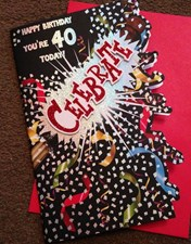 Birthday Age 40th Card - Confetti & Sparkles