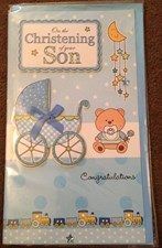 Christening Son Card - Pram & Teddy Bear
