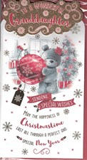 Christmas Granddaughter Card - Cute Bear Holding a Bauble