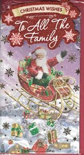 Christmas To All The Family Card - Santa Claus in His Sleigh