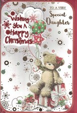 Christmas Daughter Card - Cute Bear & Balloons