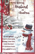 Christmas Husband Card - Snowman & Porch
