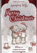 Christmas Wife Large 8 Page Verse Card - Cute Bear Couple & Presents