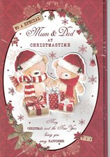 Christmas Mum & Dad 6 Page Verse Large Card - Cute Bears & Presents