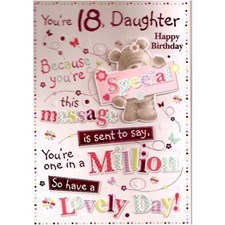 Birthday Age 18th Daughter Card - Cute Bear & Text