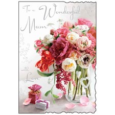 Birthday Mam Card - To A Wonderful Mam With A Vase Of Flowers