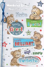 Birthday Dad Card - Cute Bears & Stars