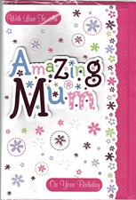 Birthday Mum 3-D Card - Flowers & Polka Dots