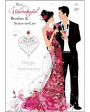 Anniversary Brother & Sister in Law Card - Bride & Groom