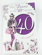 Birthday Age 40th Friend Card - Birthday Girl & Shopping