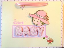 Gift Bag Baby Girl Medium 3-D - Cute Baby Hat & Pram