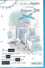 Baby Adoption Of Your Son Card - Blue Cradle & Toys