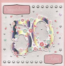 Birthday Age 50th Card - 3-D Flowers