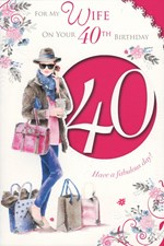 Birthday Age 40th Wife Card - Birthday Girl & Shopping