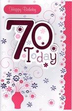 Birthday Age 70th Card - Pink Flowers