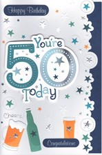 Birthday Age 50th Card - Beer & Stars