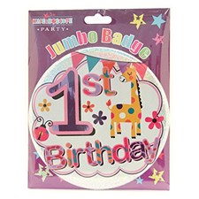Party All Ages Badge 1st Birthday Large Badge - Cute Giraffe