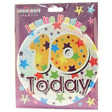 Party Badge 10 Birthday '10 Today' Large Badge - Stars