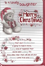 Christmas Daughter Card - Cute Bear & Present