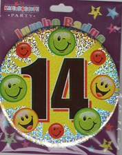 Party Badge 14 Birthday '14 Today' Large Badge - Smiley Faces