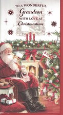 Christmas Grandson Card - Santa Claus & Christmas Tree