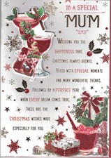 Christmas Mum Card - Festive Drinks & Cake