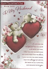 Valentines Day Husband Card – Bear Couple & Hearts