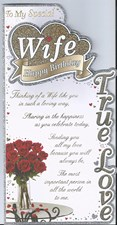 Birthday Wife Card - Roses & Golden Glitter