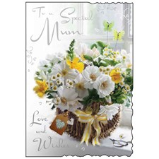 Birthday Mum Card - A Wicker Basket Full Of Flowers!