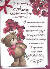 Mother's Day Card - Teddy Bear Holding Red Flowers