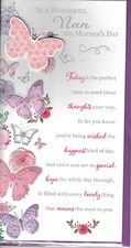 Mother's Day Nan Card - 3D Butterfly Embellishment And A Lovely Verse