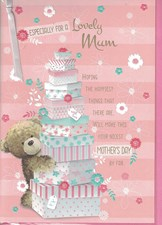Mother's Day Card - Cute Bear, A Tall Stack Of Presents, And Flowers!