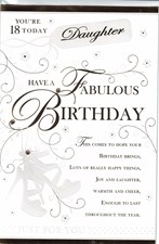 Birthday Age 18th Daughter Card - Elegant Swirls