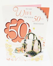 Birthday Age 50th Wife Card - Handbag & Flowers