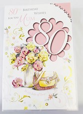 Birthday Age 80th Mum Card - Flower Bouquet & Handbag