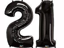 """Qualatex Black Giant 34"""" Number '21' Foil Balloon Pack"""