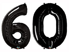 """Qualatex Black Giant 34"""" Number '60' Foil Balloon Pack"""