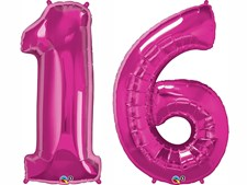 "Qualatex Pink Giant 34"" Number '16' Foil Balloon"