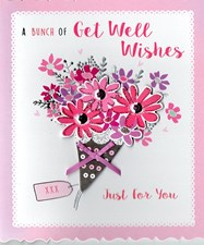 Get Well Wishes Card - Bouquet Flowers