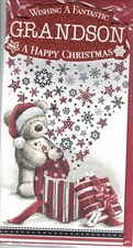 Christmas Grandson Card - A Gorgeous Illustration of a Cute Bear!