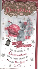 Christmas Daughter Card - Cute Bear & Bauble