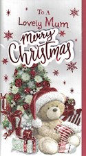 Christmas Mum Card - Cute Bear Under The Christmas Tree