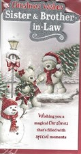 Christmas Sister & Brother in Law Card - Cute Bears & Christmas Tree