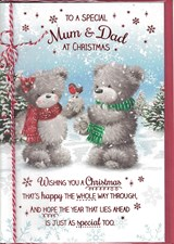 Christmas Mum & Dad Card - Two Bears Stood Surrounded by Snow