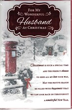 Christmas Husband Card - Snowy Postbox & Cottage