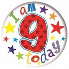 Party All Ages Badge 9 Birthday Large Badge - Stars