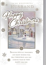 Christmas Husband Large Card - Snowy Winter Scene & Snowman