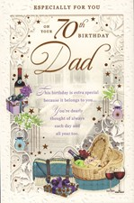 Birthday Age 70th Dad Card - Red Wine & Presents