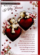 Valentines Day Fiancé Card – Bear Couple & Hearts