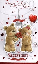 Valentines Day One I Love 8 Page Card – Bear Couple & Eiffel Tower